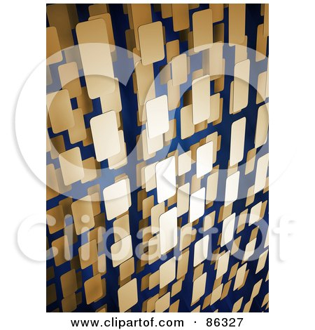 Royalty-Free (RF) Clipart Illustration of a Background Of Vertical 3d Rows Of Tan Rectangles by Mopic