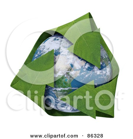 Royalty-Free (RF) Clipart Illustration of a 3d Recycle Globe With Green Leaf Arrows by Mopic
