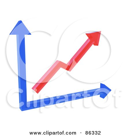 Royalty-Free (RF) Clipart Illustration of a 3d Red And Blue Arrow Chart by Mopic