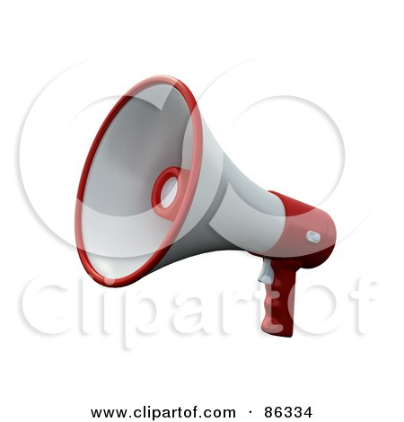 Royalty-Free (RF) Clipart Illustration of a 3d White And Red Loudspeaker Megaphone by Mopic