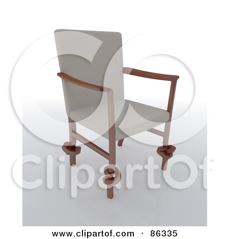 Royalty-Free (RF) Clipart Illustration of a 3d Modern Chair With Beige Fabric And Knotted Legs by Mopic
