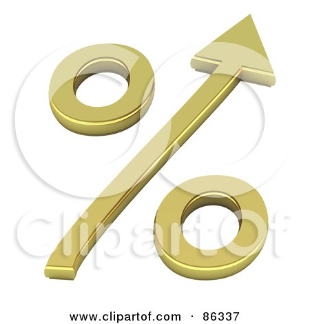 Royalty-Free (RF) Clipart Illustration of a 3d Golden Percentage Symbol With An Arrow by Mopic