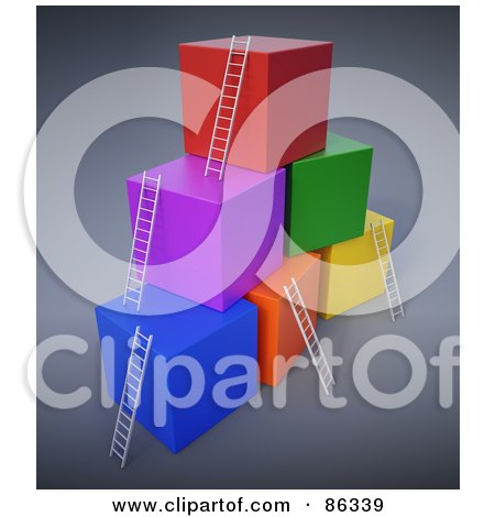 Royalty-Free (RF) Clipart Illustration of Colorful 3d Cubes With Ladders Reaching The Top by Mopic