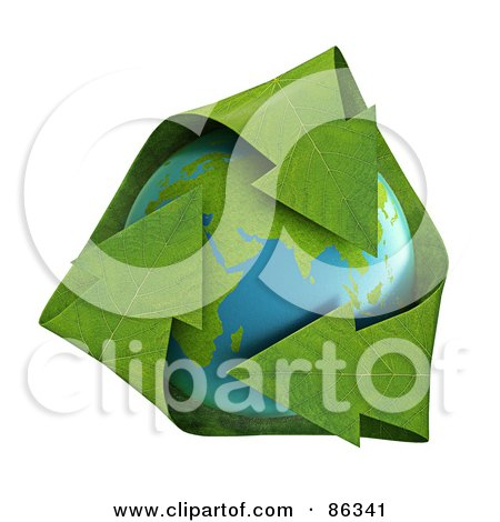Royalty-Free (RF) Clipart Illustration of 3d Green Leaf Recycle Arrows Over Earth by Mopic