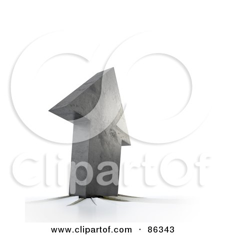 Royalty-Free (RF) Clipart Illustration of a 3d Concrete Arrow Breaking Through A Surface by Mopic