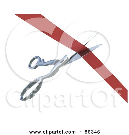 Royalty-Free (RF) Clipart Illustration of a Red Ribbon Being Cut By Scissors by Mopic