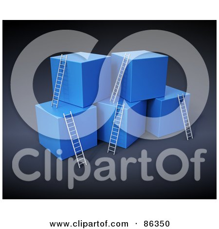 Royalty-Free (RF) Clipart Illustration of a Blue 3d Cubes With Ladders Reaching The Top by Mopic
