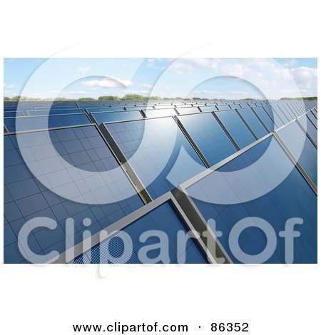 Royalty-Free (RF) Clipart Illustration of a Solar Energy Farm With Panels Under The Sunlight by Mopic
