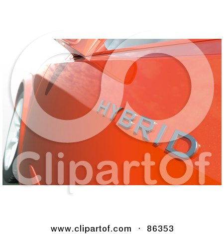 Royalty-Free (RF) Clipart Illustration of a Closeup Of A Hybrid Logo On An Orange Car by Mopic