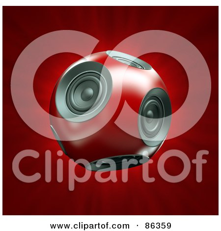 Royalty-Free (RF) Clip Art Illustration of a 3d Round Red Ball Of Speakers Over Red by Mopic