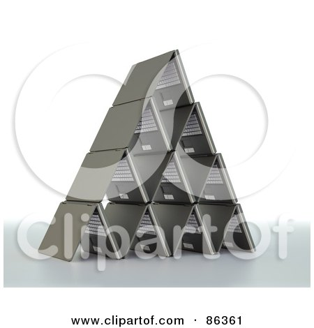 Royalty-Free (RF) Clipart Illustration of a Pyramid Shaped Of 3d Laptops by Mopic