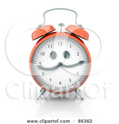 Royalty-Free (RF) Clipart Illustration of a 3d Orange Alarm Clock With A Face by Mopic
