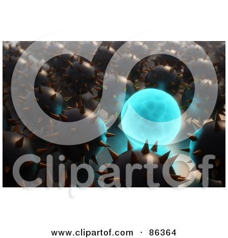 Royalty-Free (RF) Clipart Illustration of a 3d Blue Globe Glowing In A Crowd Of Spiked Metal Balls by Mopic