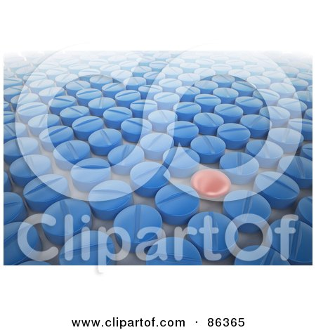 Royalty-Free (RF) Clipart Illustration of a Red Pill In A Crowd Of Blue Pills by Mopic