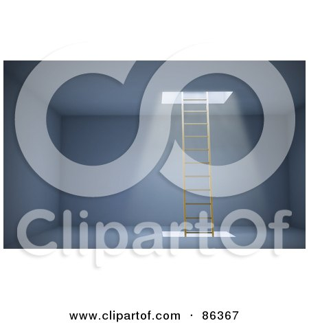 Royalty-Free (RF) Clipart Illustration of a Ladder In An Empty Room With Light Shining Down From An Opening by Mopic