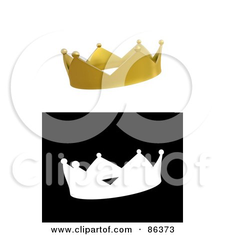 Digital collage of a 3d golden crown and black and white version