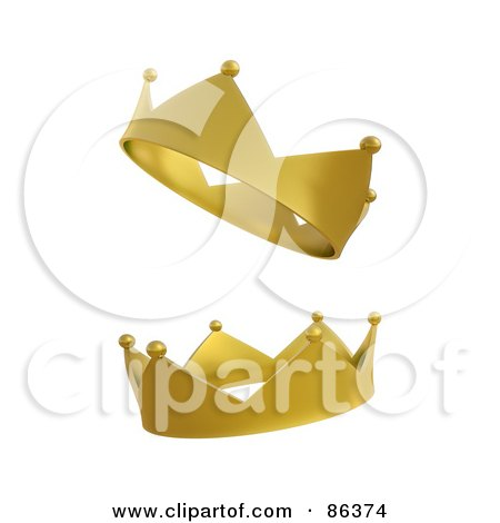 Royalty-Free (RF) Clipart Illustration of a Digital Collage Of Two Golden Royal Crowns by Mopic