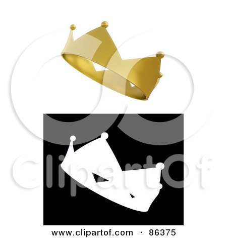 Royalty-Free (RF) Clipart Illustration of a Digital Collage Of A 3d Gold Crown And Black And White Version by Mopic