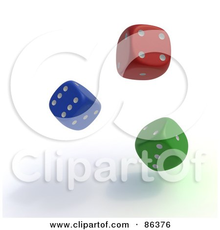 Royalty-Free (RF) Clipart Illustration of 3d Colorful Random Rolling Dice by Mopic