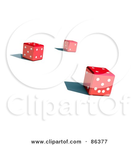 Royalty-Free (RF) Clipart Illustration of Three 3d Red Dice With Shadows by Mopic