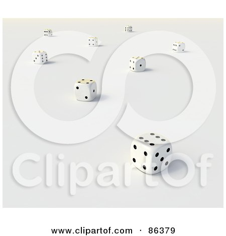 Royalty-Free (RF) Clipart Illustration of Scattered White And Black 3d Dice by Mopic