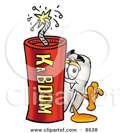 Clipart Picture of a Tooth Mascot Cartoon Character Standing With a Lit Stick of Dynamite by Toons4Biz