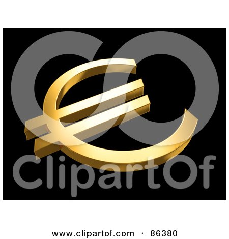 Royalty-Free (RF) Clipart Illustration of an Angled View Of A 3d Golden Euro Currency Symbol On Black by Mopic