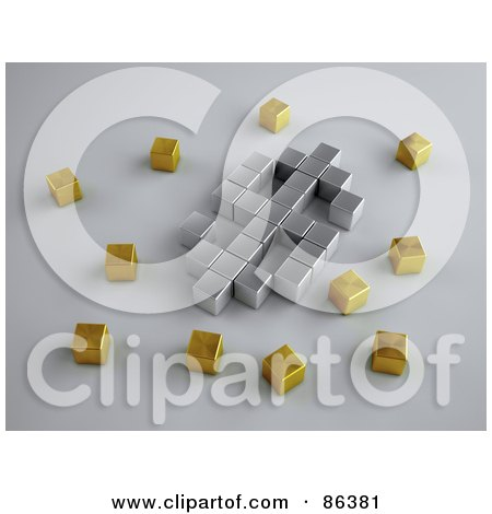 Royalty-Free (RF) Clipart Illustration of a Silver 3d Cubes Forming A Dollar Symbol, Surrounded By Gold Cubes by Mopic