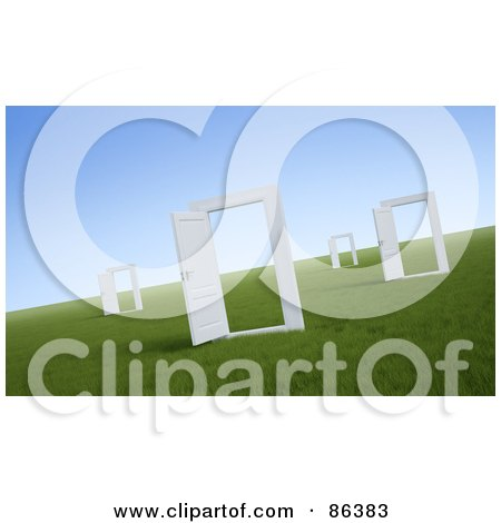 Royalty-Free (RF) Clipart Illustration of a Field Of Open Doorways by Mopic
