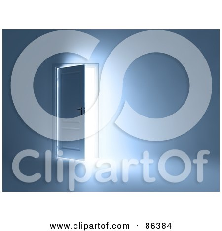 Royalty-Free (RF) Clipart Illustration of a Bright Light Through An Open Door In A Blue Room by Mopic