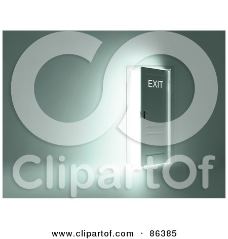 Royalty-Free (RF) Clipart Illustration of a Bright Light Shining Through An Open Door In A Room by Mopic