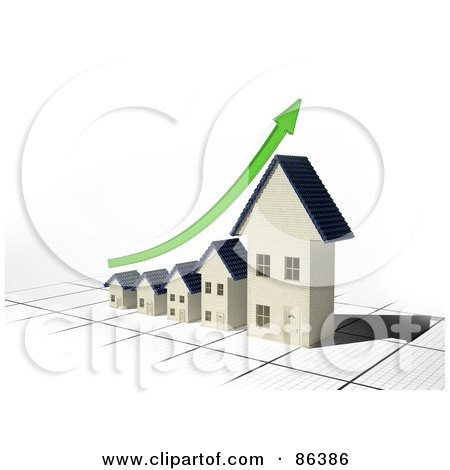 Royalty-Free (RF) Clipart Illustration of a Bar Graph Of Houses Depicting Growth With A Green Arrow by Mopic