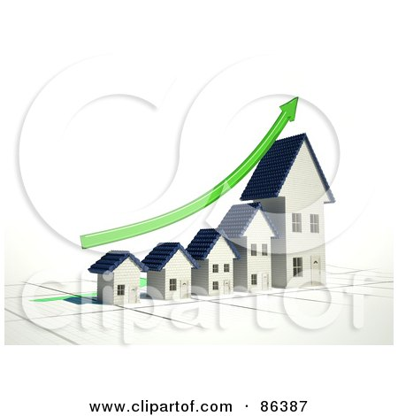 Royalty-Free (RF) Clipart Illustration of a Bar Graph Of Homes Depicting Growth With A Green Arrow by Mopic