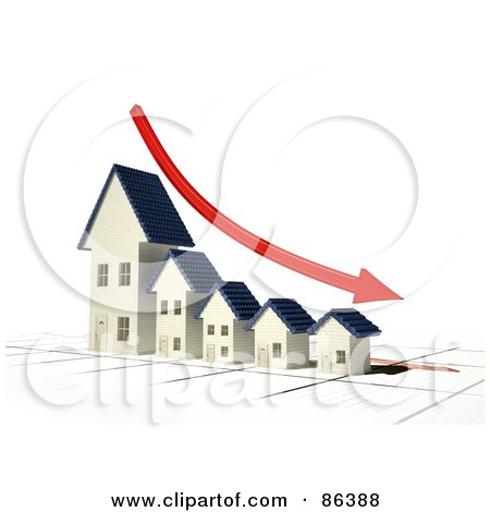 Royalty-Free (RF) Clipart Illustration of a Bar Graph Of Houses Depicting Bankruptcy With A Red Arrow by Mopic
