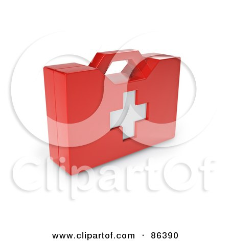 Royalty-Free (RF) Clipart Illustration of a Red 3d First Aid Kit With A White Cross by Mopic