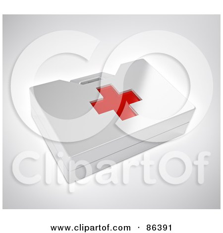 Royalty-Free (RF) Clipart Illustration of a White 3d First Aid Kit With A Red Cross by Mopic