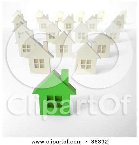 Royalty-Free (RF) Clipart Illustration of a Green 3d Home In A Neighborhood Of White Homes by Mopic