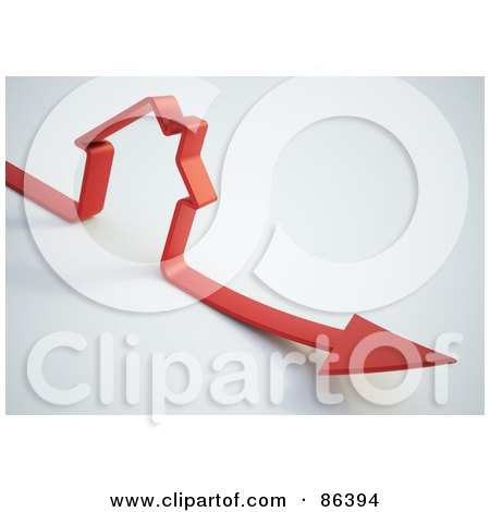 Royalty-Free (RF) Clipart Illustration of a Red Arrow Forming The Shape Of A House by Mopic
