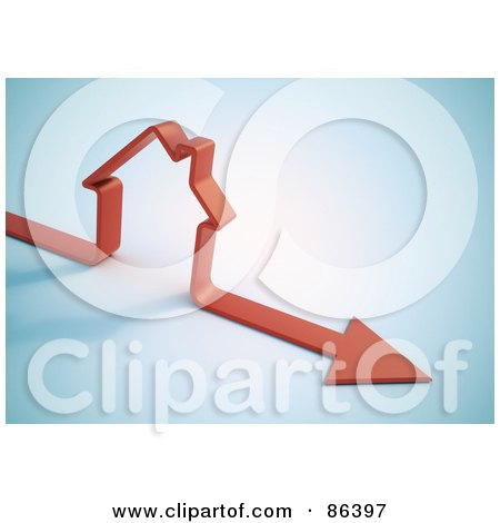 Royalty-Free (RF) Clipart Illustration of a 3d Red Arrow With A House Shape by Mopic