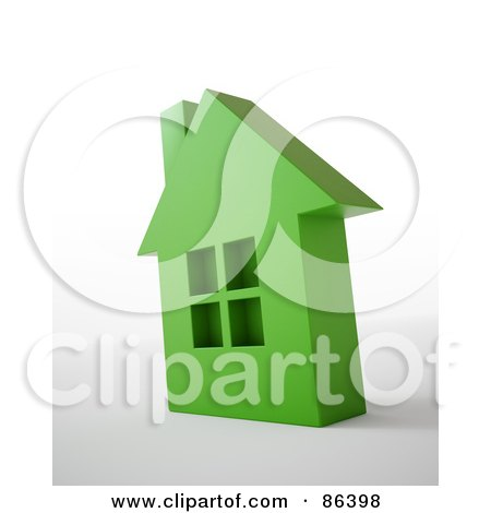 Royalty-Free (RF) Clipart Illustration of a 3d Green Residential Home Over White And Gray by Mopic