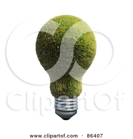 Royalty-Free (RF) Clipart Illustration of a Grassy Electric Light Bulb by Mopic