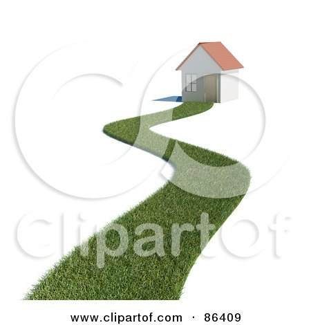 Royalty-Free (RF) Clipart Illustration of a Grassy Path Leading To A 3d Home by Mopic