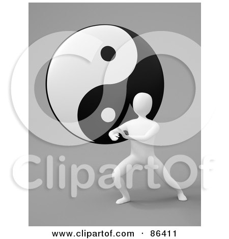 Royalty-Free (RF) Clipart Illustration of a 3d White Figure Exercising In Front Of A Yin Yang by Mopic