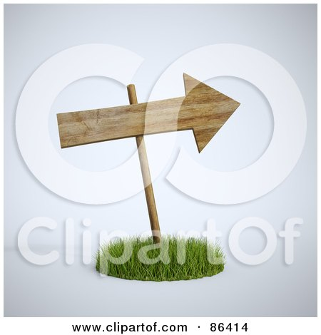 Royalty-Free (RF) Clipart Illustration of a 3d Wooden Arrow Sign In A Circle Of Grass by Mopic