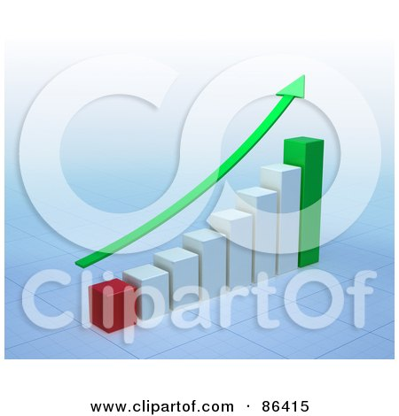 Royalty-Free (RF) Clipart Illustration of a Green Arrow Curving Upwards Over A Bar Graph by Mopic