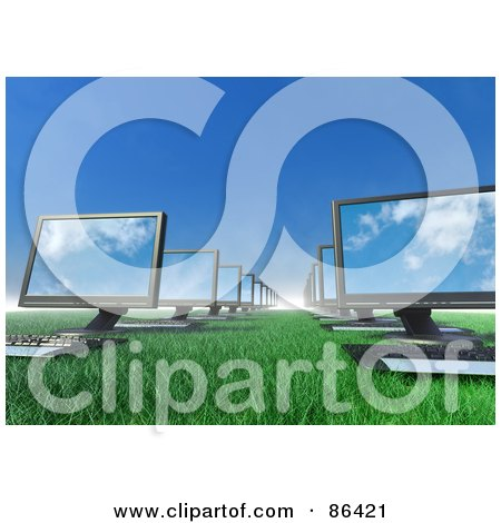Royalty-Free (RF) Clipart Illustration of 3d Computers Lined Up On A Grassy Field by Mopic