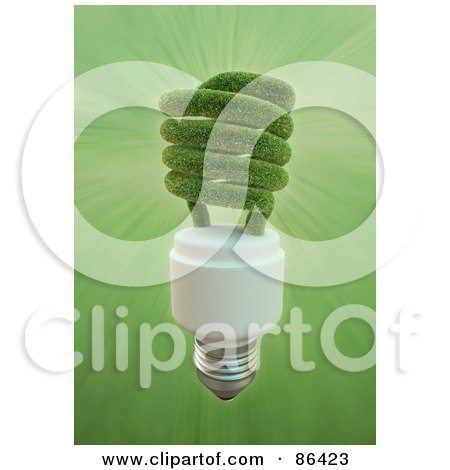 Royalty-Free (RF) Clipart Illustration of a 3d Grassy Electric Spiral Light Bulb by Mopic