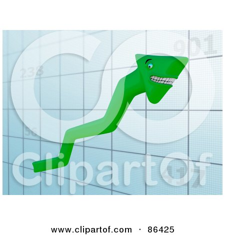 Royalty-Free (RF) Clipart Illustration of a Grinning Green Arrow Moving Up On A Graph by Mopic