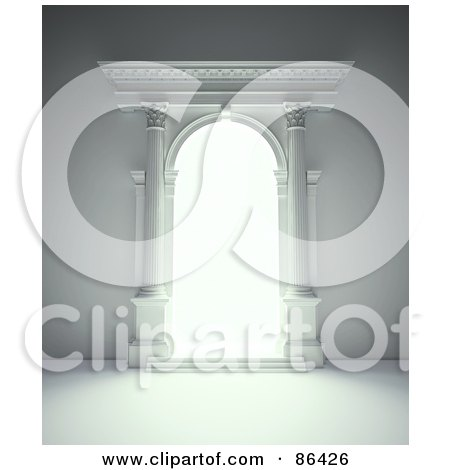 Royalty-Free (RF) Clipart Illustration of a Light Shining Through An Open Columnar Portal by Mopic