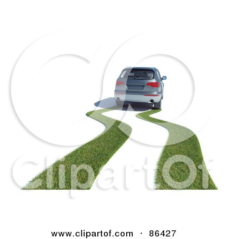 Royalty-Free (RF) Clipart Illustration of a Grassy Path Behind A Hybrid Car by Mopic